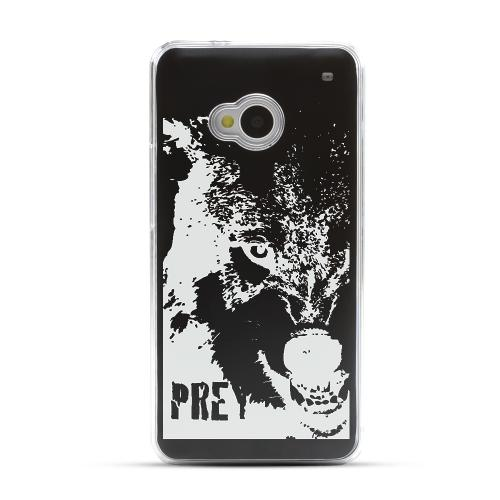 Wolf Prey - Geeks Designer Line Laser Series Black Aluminum Back on Clear Hard Case for HTC One