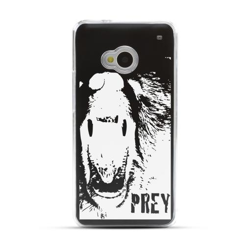 Bear Prey - Geeks Designer Line Laser Series Black Aluminum Back on Clear Hard Case for HTC One