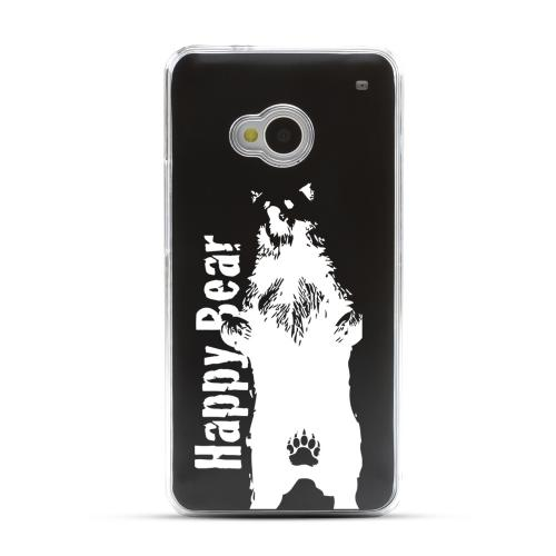 Happy Bear - Geeks Designer Line Laser Series Black Aluminum Back on Clear Hard Case for HTC One