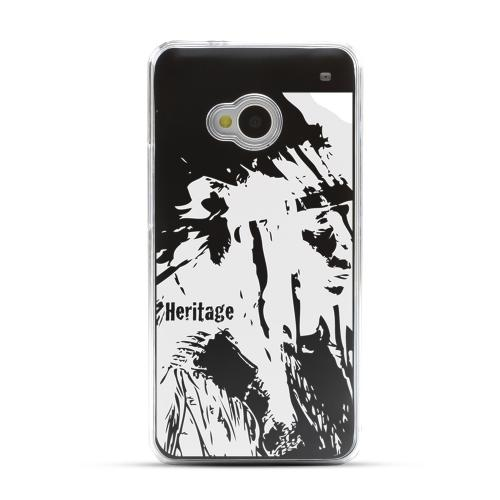 World Heritage Native American - Geeks Designer Line Laser Series Black Aluminum Back on Clear Hard Case for HTC One