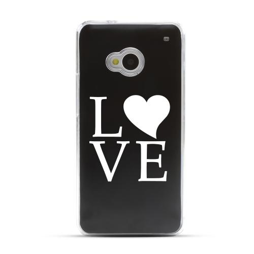 Love - Geeks Designer Line Laser Series Black Aluminum Back on Clear Hard Case for HTC One