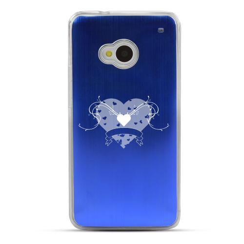 Heart Swirls - Geeks Designer Line Laser Series Blue Aluminum Back on Clear Hard Case for HTC One