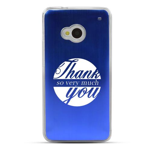 Thank You So Very Much - Geeks Designer Line Laser Series Blue Aluminum Back on Clear Hard Case for HTC One