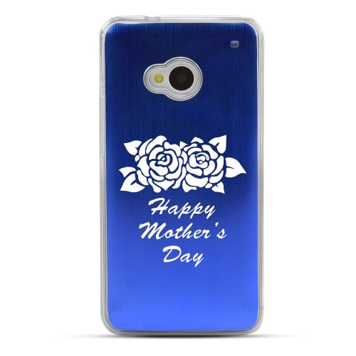 Flower Mother Day - Geeks Designer Line Laser Series Blue Aluminum Back on Clear Hard Case for HTC One