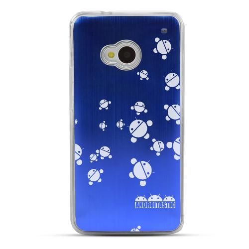 Bubble Bot Invasion - Geeks Designer Line Laser Series Blue Aluminum Back on Clear Hard Case for HTC One