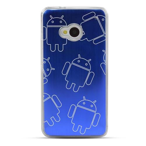 Androitastic- Geeks Designer Line Laser Series Blue Aluminum Back on Clear Hard Case for HTC One