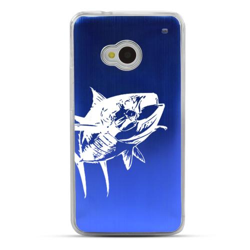 Yellowfin  - Geeks Designer Line Laser Series Blue Aluminum Back on Clear Hard Case for HTC One