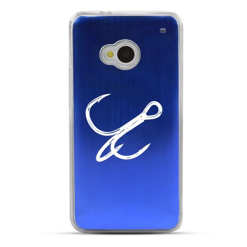 Fish Hook - Geeks Designer Line Laser Series Blue Aluminum Back on Clear Hard Case for HTC One