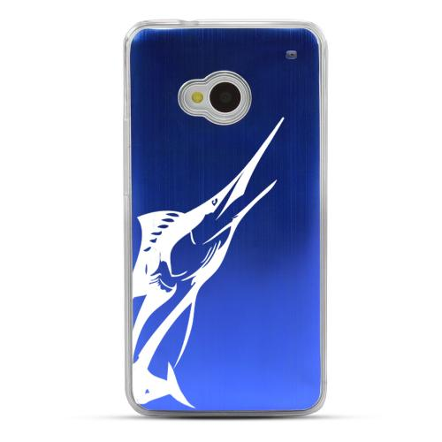 Marlin - Geeks Designer Line Laser Series Blue Aluminum Back on Clear Hard Case for HTC One