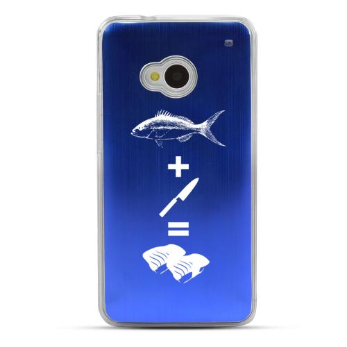 Fish + Knife = Sushi - Geeks Designer Line Laser Series Blue Aluminum Back on Clear Hard Case for HTC One