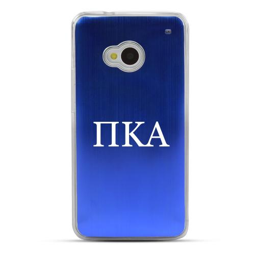 Pi Kappa Alpha - Geeks Designer Line Laser Series Blue Aluminum Back on Clear Hard Case for HTC One