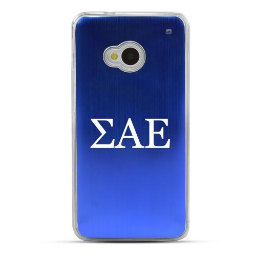 Sigma Alpha Epsilon - Geeks Designer Line Laser Series Blue Aluminum Back on Clear Hard Case for HTC One