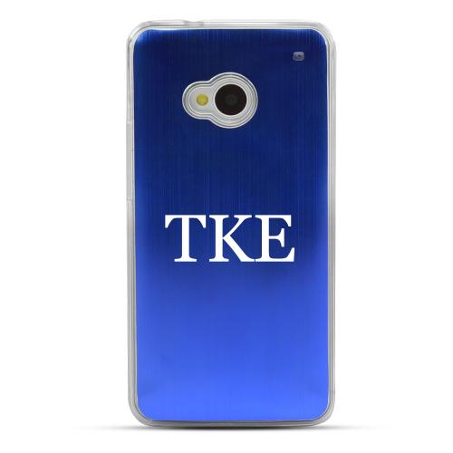 Tau Kappa Epsilon - Geeks Designer Line Laser Series Blue Aluminum Back on Clear Hard Case for HTC One