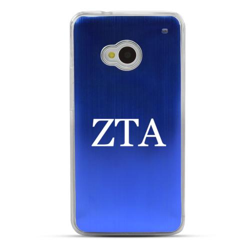 Zeta Tau Alpha - Geeks Designer Line Laser Series Blue Aluminum Back on Clear Hard Case for HTC One