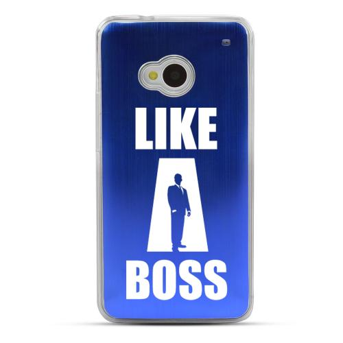 Like A Boss - Geeks Designer Line Laser Series Blue Aluminum Back on Clear Hard Case for HTC One