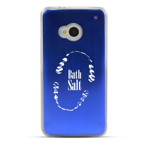 Bath Salt Teeth - Geeks Designer Line Laser Series Blue Aluminum Back on Clear Hard Case for HTC One