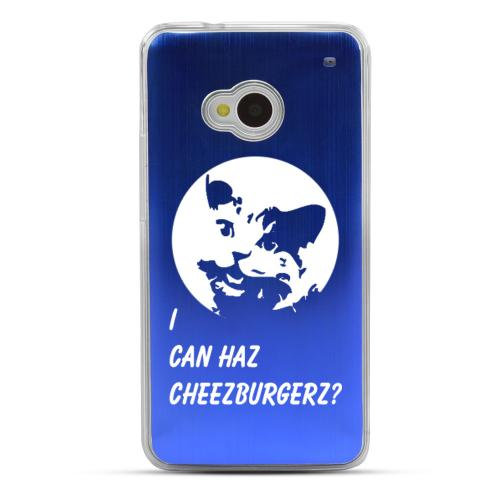 I Can Haz Cheezburgerz? - Geeks Designer Line Laser Series Blue Aluminum Back on Clear Hard Case for HTC One