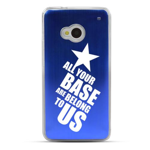 All Your Base Are Belong To Us - Geeks Designer Line Laser Series Blue Aluminum Back on Clear Hard Case for HTC One