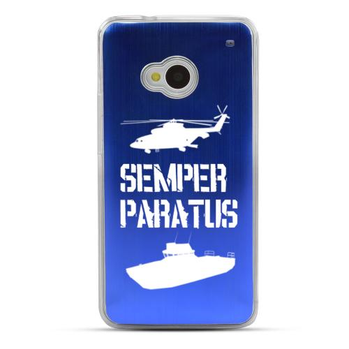 Coast Guard - Geeks Designer Line Laser Series Blue Aluminum Back on Clear Hard Case for HTC One