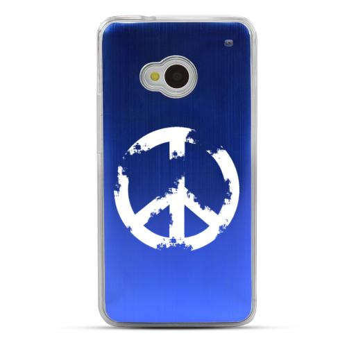 Grunge Peace Sign - Geeks Designer Line Laser Series Blue Aluminum Back on Clear Hard Case for HTC One