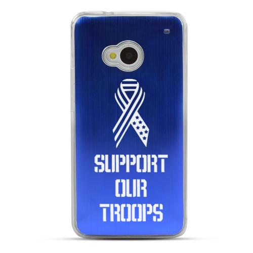 Support Our Troops - Geeks Designer Line Laser Series Blue Aluminum Back on Clear Hard Case for HTC One