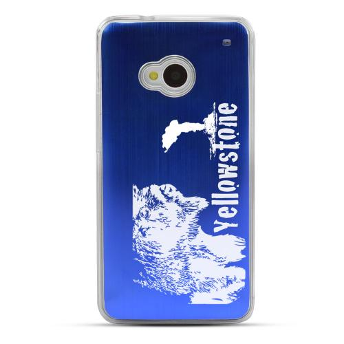 Yellowstone - Geeks Designer Line Laser Series Blue Aluminum Back on Clear Hard Case for HTC One