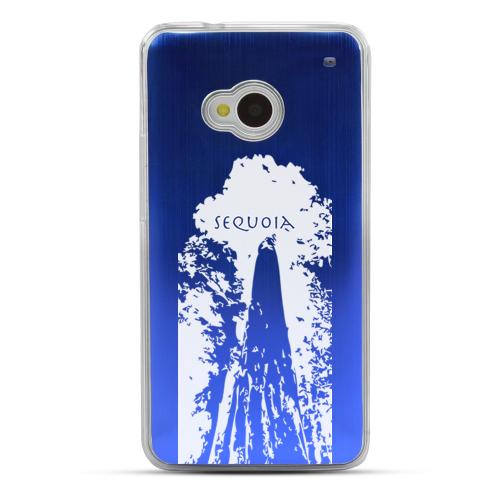Sequoia Tree - Geeks Designer Line Laser Series Blue Aluminum Back on Clear Hard Case for HTC One
