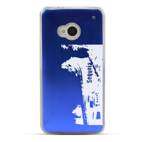 Sequoia Fallen Tree Tunnel - Geeks Designer Line Laser Series Blue Aluminum Back on Clear Hard Case for HTC One