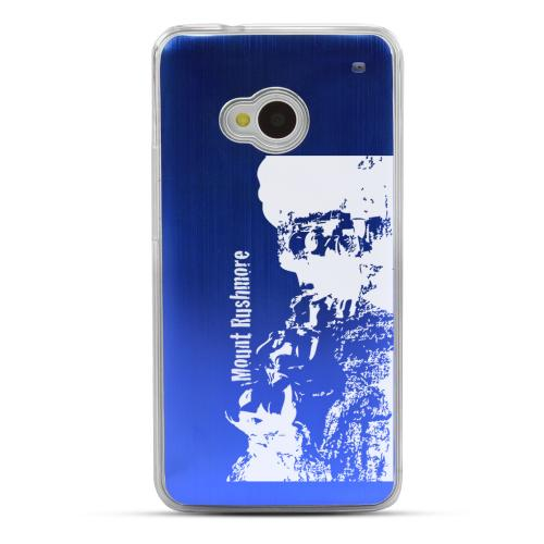 Mount Rushmore - Geeks Designer Line Laser Series Blue Aluminum Back on Clear Hard Case for HTC One