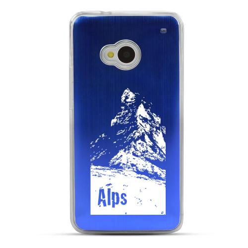 The Swiss Alps - Geeks Designer Line Laser Series Blue Aluminum Back on Clear Hard Case for HTC One