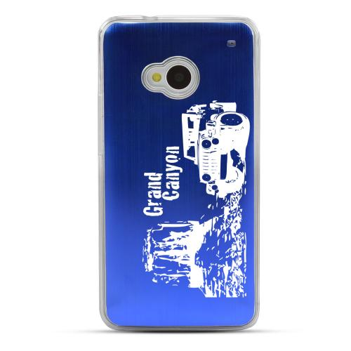 Grand Canyon - Geeks Designer Line Laser Series Blue Aluminum Back on Clear Hard Case for HTC One