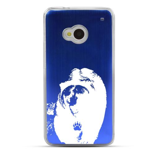 Bear Paw - Geeks Designer Line Laser Series Blue Aluminum Back on Clear Hard Case for HTC One