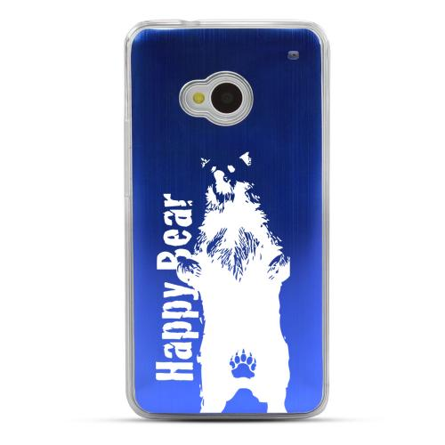 Happy Bear - Geeks Designer Line Laser Series Blue Aluminum Back on Clear Hard Case for HTC One