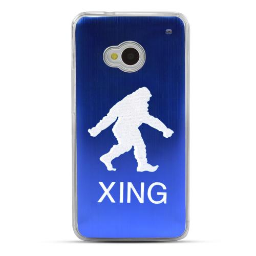 Bigfoot X-ing - Geeks Designer Line Laser Series Blue Aluminum Back on Clear Hard Case for HTC One