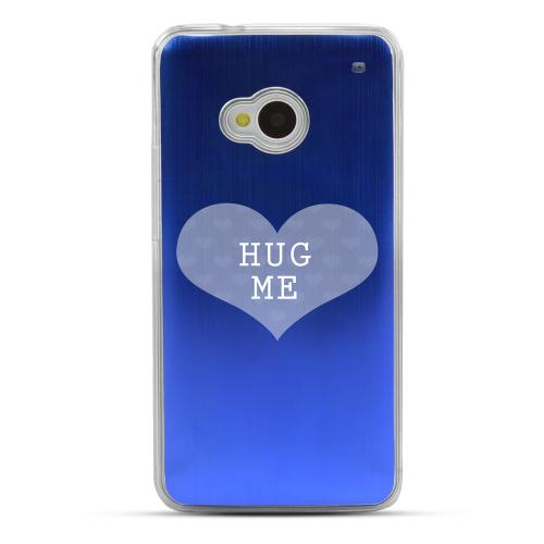 Hug Me - Geeks Designer Line Laser Series Blue Aluminum Back on Clear Hard Case for HTC One