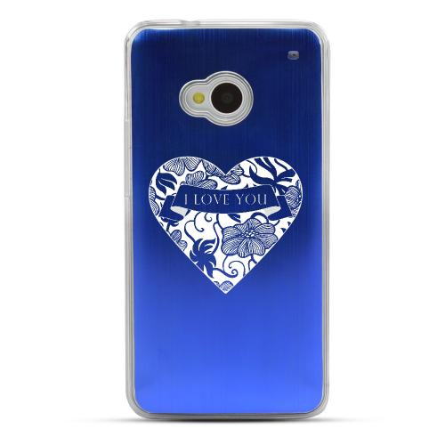 I Love You - Geeks Designer Line Laser Series Blue Aluminum Back on Clear Hard Case for HTC One
