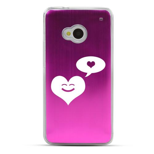 Heart Dreamer - Geeks Designer Line Laser Series Hot Pink Aluminum Back on Clear Hard Case for HTC One