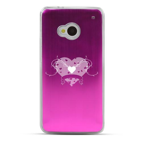 Heart Swirls - Geeks Designer Line Laser Series Hot Pink Aluminum Back on Clear Hard Case for HTC One