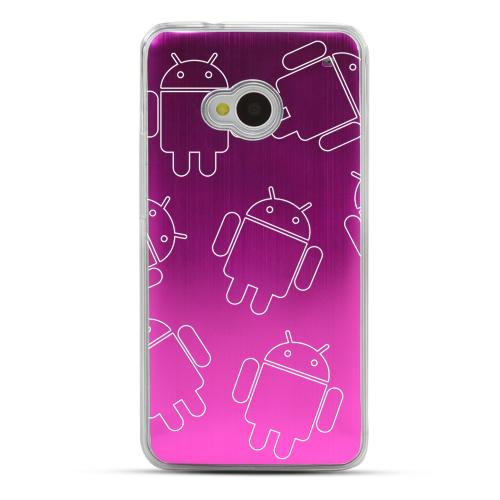 Androitastic - Geeks Designer Line Laser Series Hot Pink Aluminum Back on Clear Hard Case for HTC One