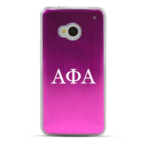 Alpha Phi Alpha - Geeks Designer Line Laser Series Hot Pink Aluminum Back on Clear Hard Case for HTC One