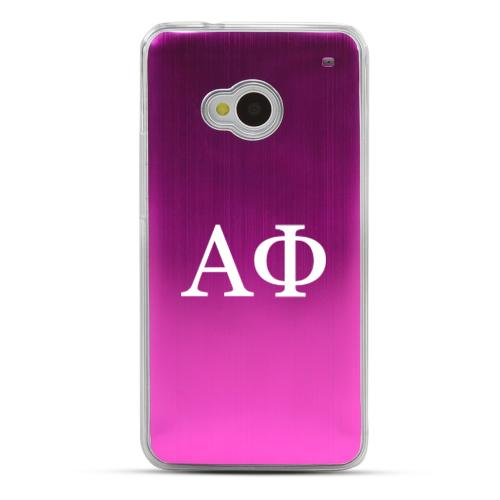 Alpha Phi - Geeks Designer Line Laser Series Hot Pink Aluminum Back on Clear Hard Case for HTC One