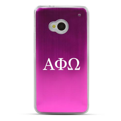 Alpha Phi Omega - Geeks Designer Line Laser Series Hot Pink Aluminum Back on Clear Hard Case for HTC One