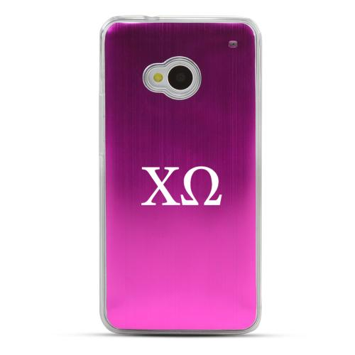 Chi Omega - Geeks Designer Line Laser Series Hot Pink Aluminum Back on Clear Hard Case for HTC One