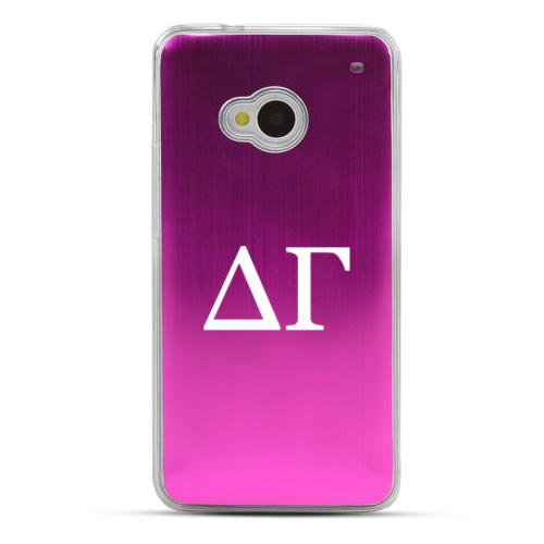 Delta Gamma - Geeks Designer Line Laser Series Hot Pink Aluminum Back on Clear Hard Case for HTC One