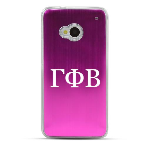 Gamma Phi Beta - Geeks Designer Line Laser Series Hot Pink Aluminum Back on Clear Hard Case for HTC One