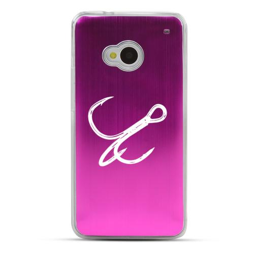 Fish Hook - Geeks Designer Line Laser Series Hot Pink Aluminum Back on Clear Hard Case for HTC One