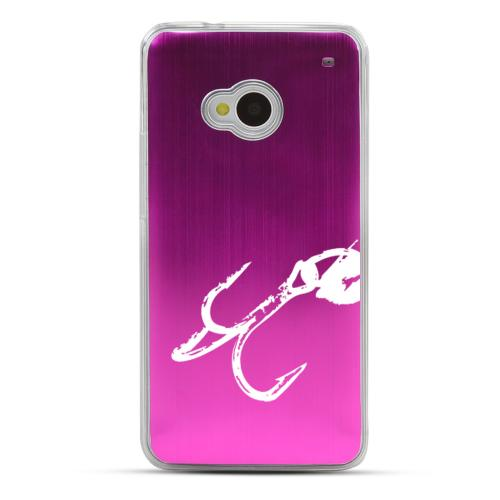 Fish Hook 2.0 - Geeks Designer Line Laser Series Hot Pink Aluminum Back on Clear Hard Case for HTC One