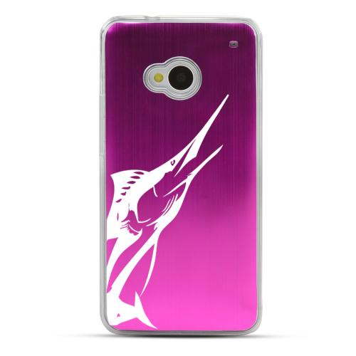 Marlin - Geeks Designer Line Laser Series Hot Pink Aluminum Back on Clear Hard Case for HTC One