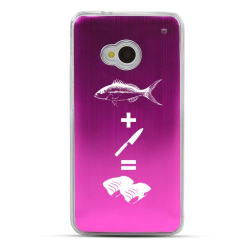 Fish + Knife = Sushi - Geeks Designer Line Laser Series Hot Pink Aluminum Back on Clear Hard Case for HTC One