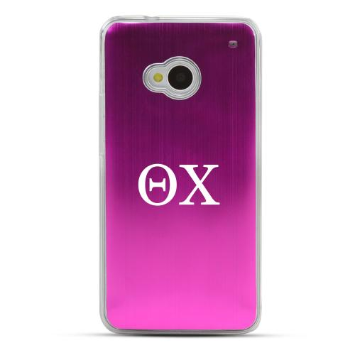 Theta Chi - Geeks Designer Line Laser Series Hot Pink Aluminum Back on Clear Hard Case for HTC One
